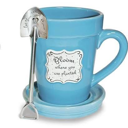 flower mug blue